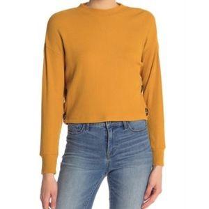 June & Hudson Mustard Yellow Crop Shirt